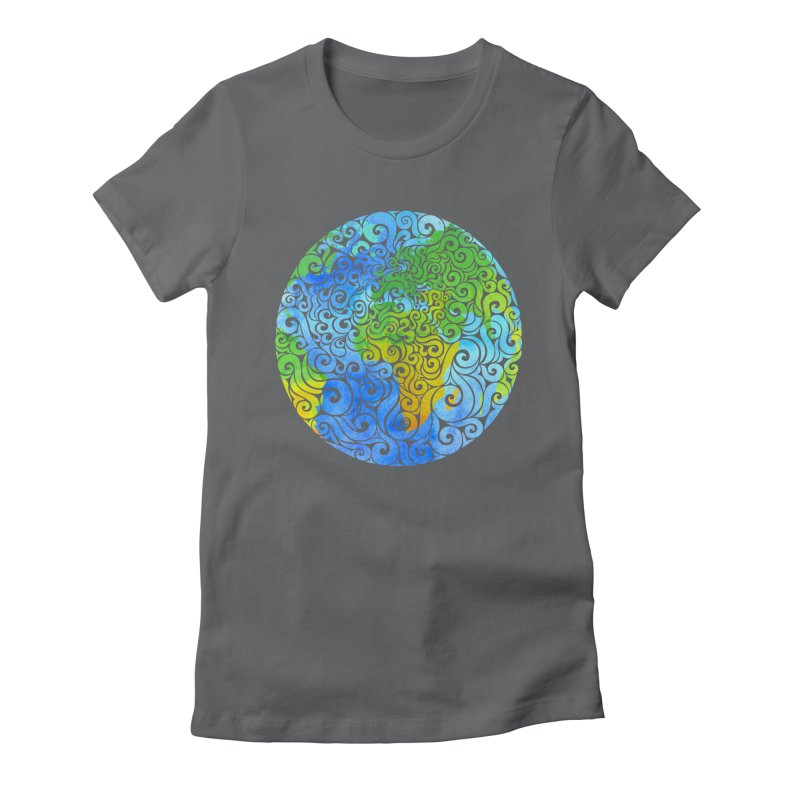 Swirly Earth Women's Fitted T-Shirt by VectorInk's Artist Shop