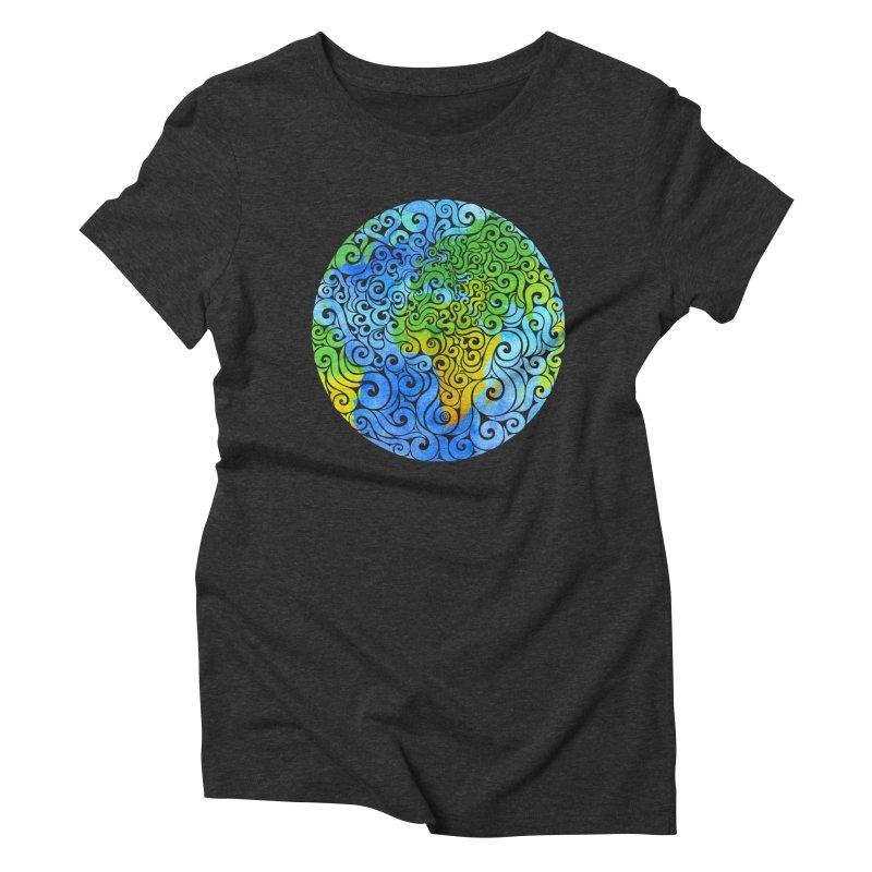 Swirly Earth Women's Triblend T-Shirt by VectorInk's Artist Shop