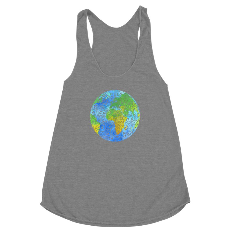 Swirly Earth Women's Racerback Triblend Tank by VectorInk's Artist Shop