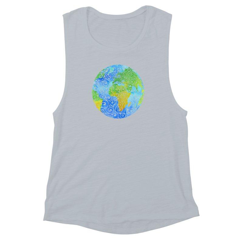 Swirly Earth Women's Muscle Tank by VectorInk's Artist Shop