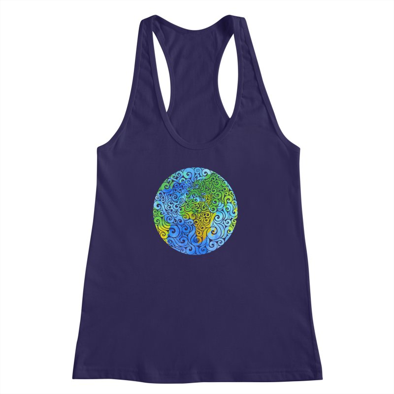 Swirly Earth Women's Racerback Tank by VectorInk's Artist Shop
