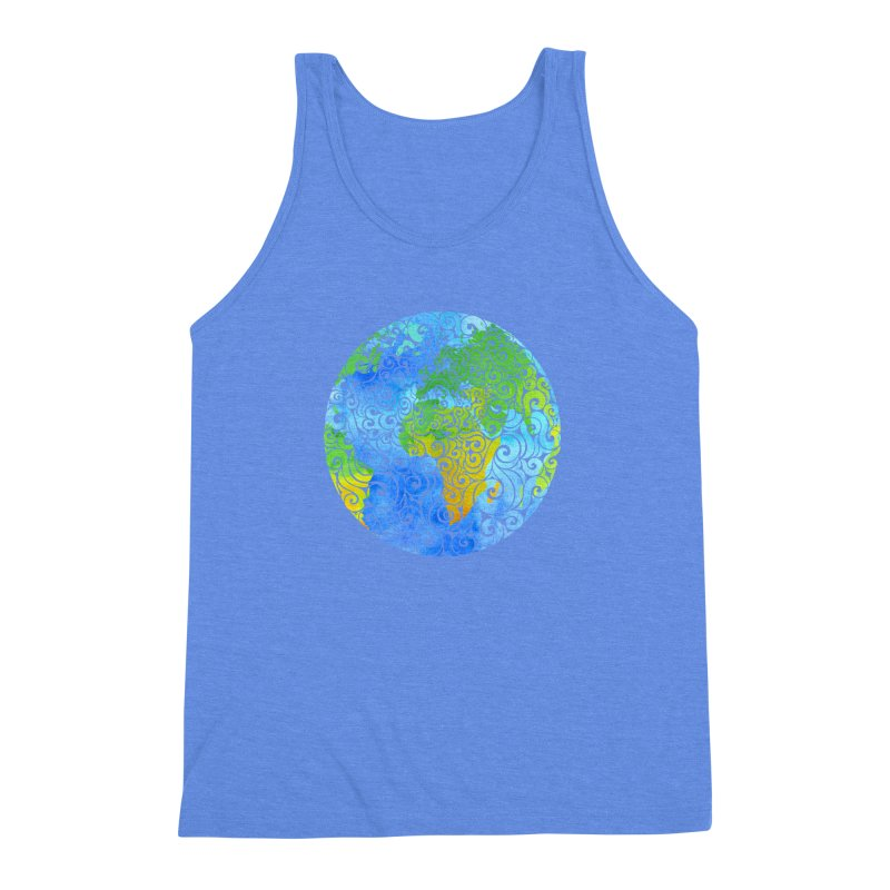 Swirly Earth Men's Triblend Tank by VectorInk's Artist Shop