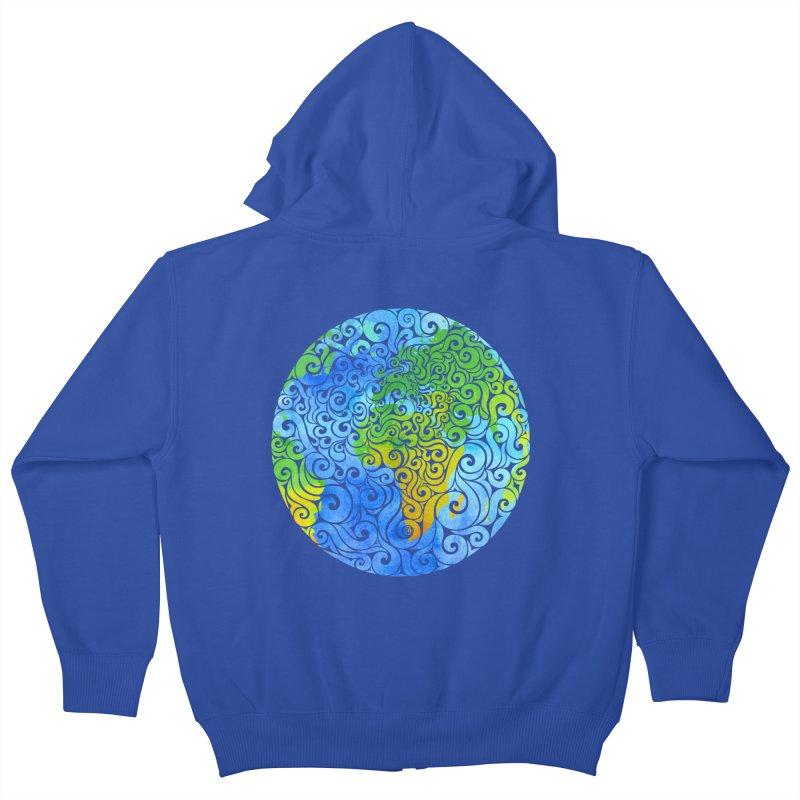 Swirly Earth Kids Zip-Up Hoody by VectorInk's Artist Shop