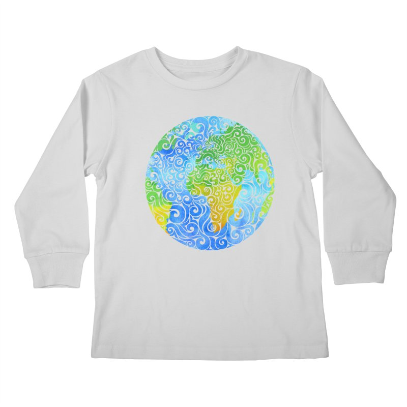 Swirly Earth Kids Longsleeve T-Shirt by VectorInk's Artist Shop