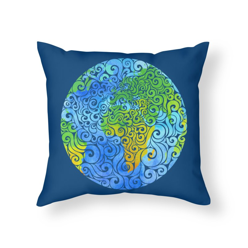 Swirly Earth Home Throw Pillow by VectorInk's Artist Shop