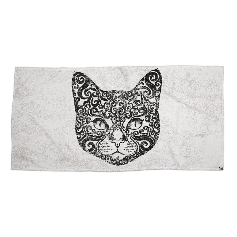 Swirly Cat Portrait 1 Accessories Beach Towel by VectorInk's Artist Shop