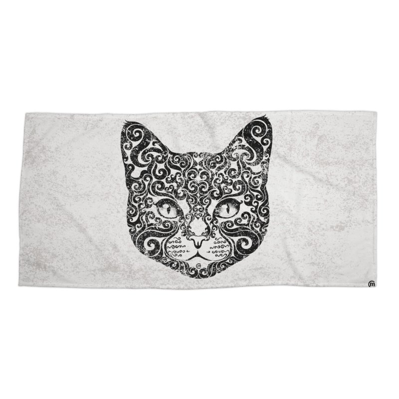 Swirly Cat Portrait 1 Accessories Beach Towel by VectorInk's Artist Shop