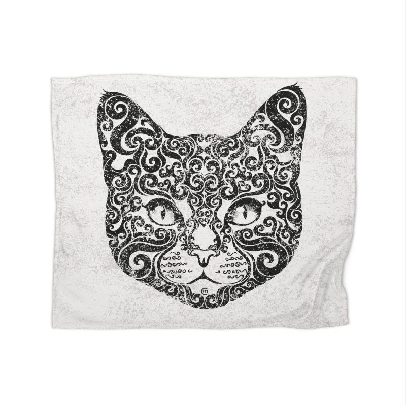 Swirly Cat Portrait 1 Home Blanket by VectorInk's Artist Shop