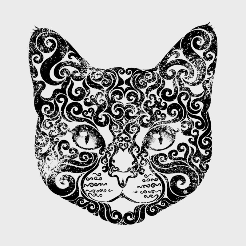 Swirly Cat Portrait 1 None  by VectorInk's Artist Shop