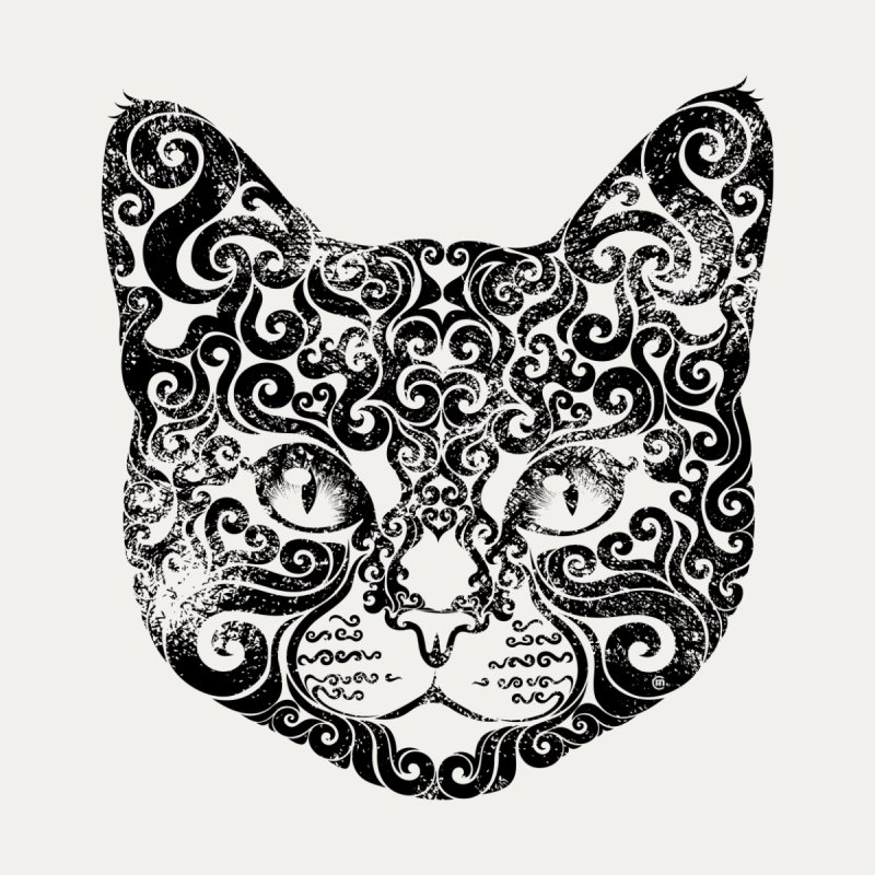 Swirly Cat Portrait 1 Home Bath Mat by VectorInk's Artist Shop