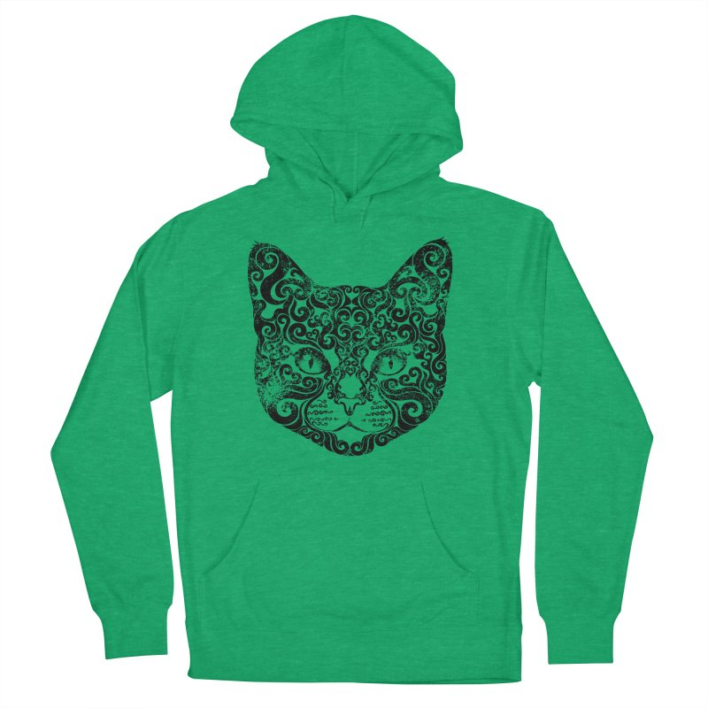 Swirly Cat Portrait 1 Women's Pullover Hoody by VectorInk's Artist Shop