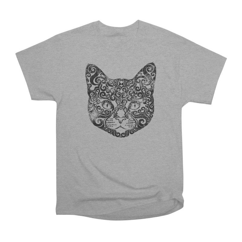 Swirly Cat Portrait 1 Women's Heavyweight Unisex T-Shirt by VectorInk's Artist Shop