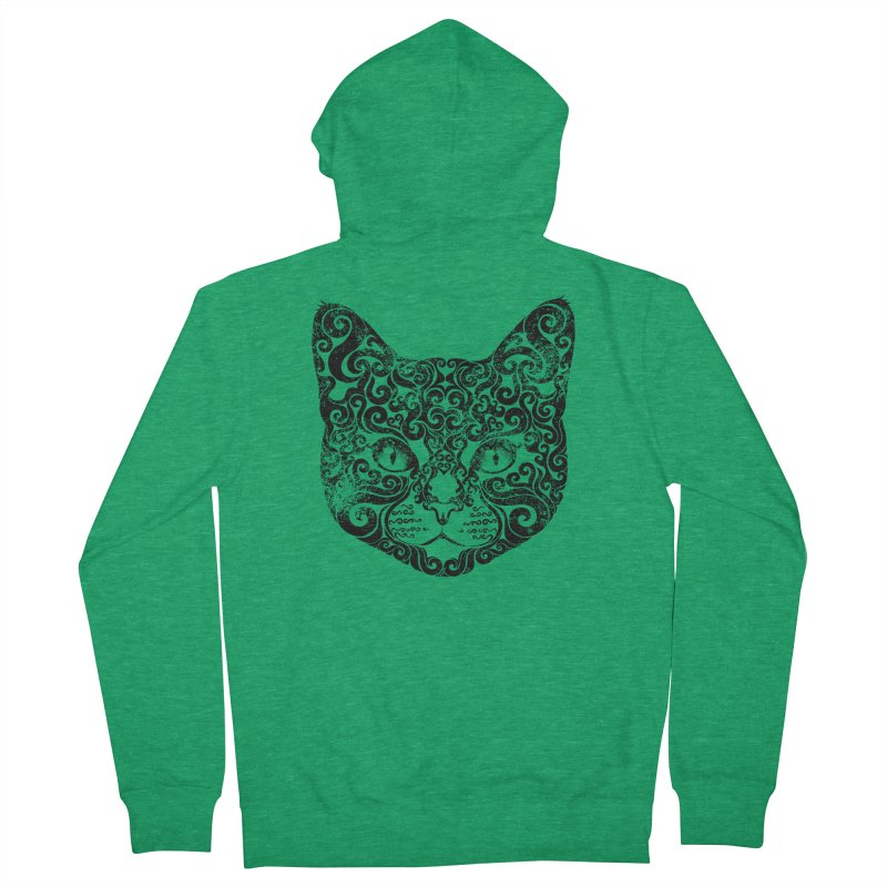 Swirly Cat Portrait 1 Men's French Terry Zip-Up Hoody by VectorInk's Artist Shop