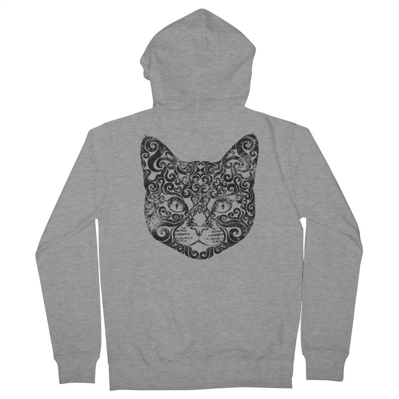 Swirly Cat Portrait 1 Men's Zip-Up Hoody by VectorInk's Artist Shop