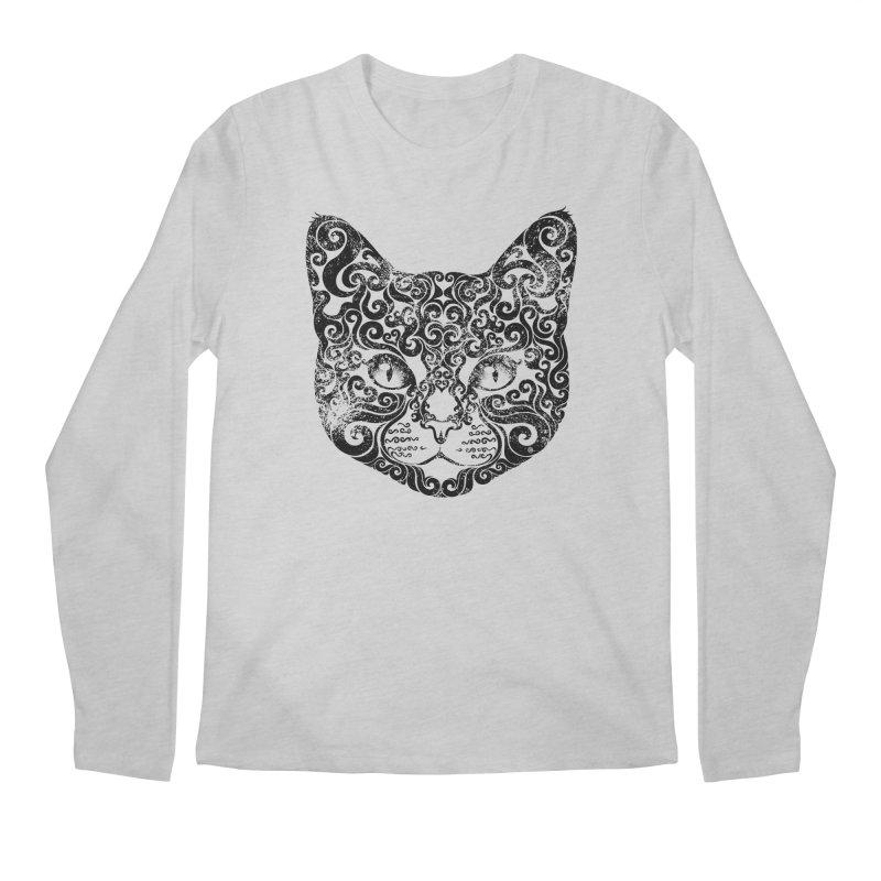 Swirly Cat Portrait 1 Men's Longsleeve T-Shirt by VectorInk's Artist Shop