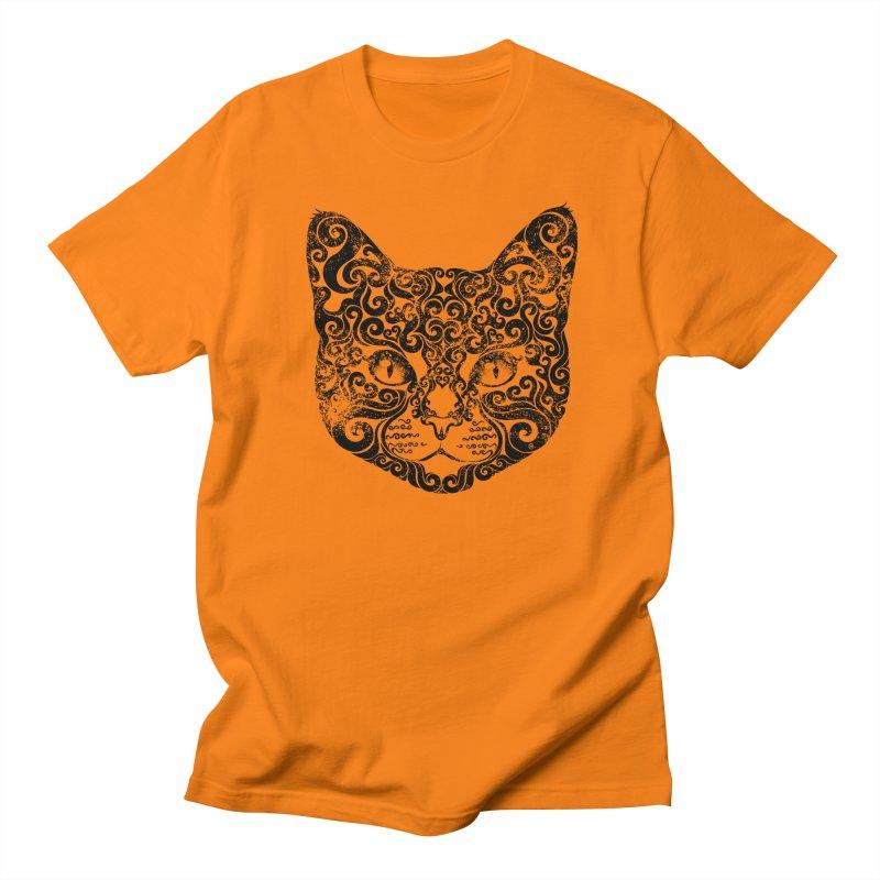 Swirly Cat Portrait 1 Men's T-shirt by VectorInk's Artist Shop