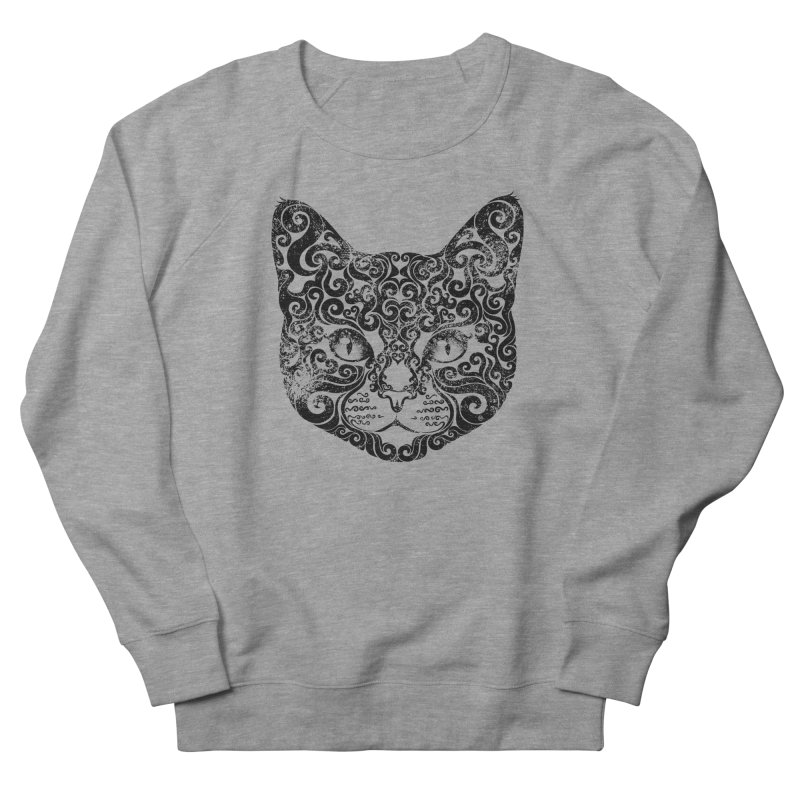 Swirly Cat Portrait 1 Men's French Terry Sweatshirt by VectorInk's Artist Shop