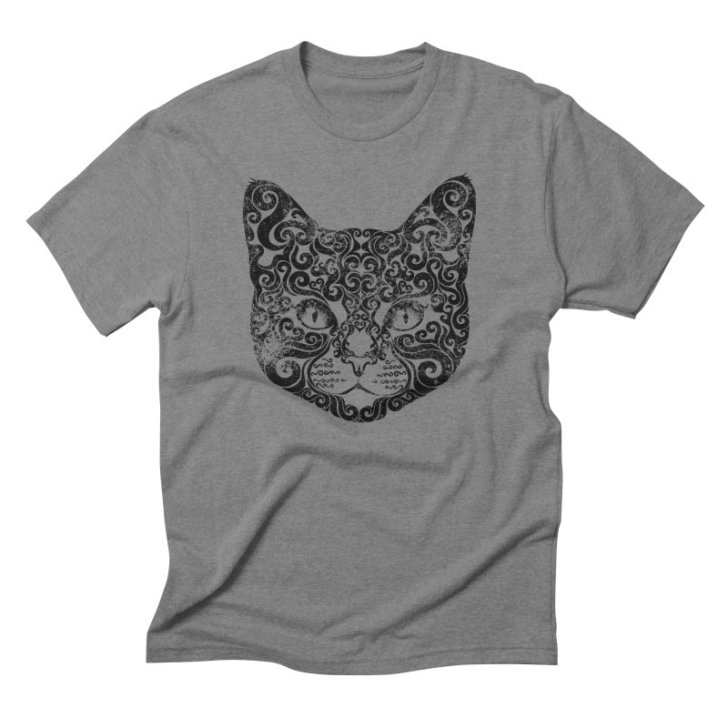 Swirly Cat Portrait 1 Men's Triblend T-Shirt by VectorInk's Artist Shop