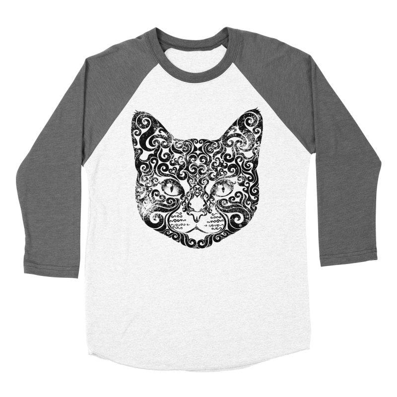 Swirly Cat Portrait 1 Men's Baseball Triblend Longsleeve T-Shirt by VectorInk's Artist Shop
