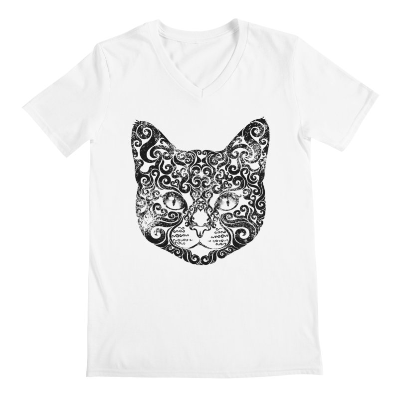 Swirly Cat Portrait 1 Men's V-Neck by VectorInk's Artist Shop