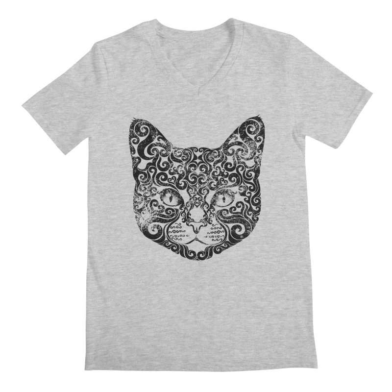 Swirly Cat Portrait 1 Men's Regular V-Neck by VectorInk's Artist Shop