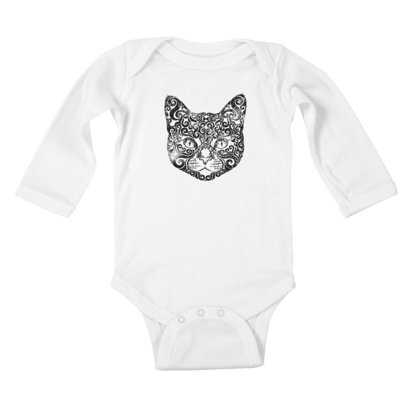 Swirly Cat Portrait 1 Kids Baby Longsleeve Bodysuit by VectorInk's Artist Shop