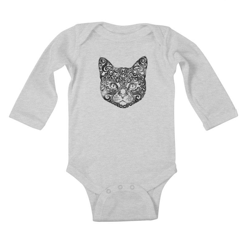 Swirly Cat Portrait 1 Kids Baby Longsleeve Bodysuit by VectorInk's Artist Shop
