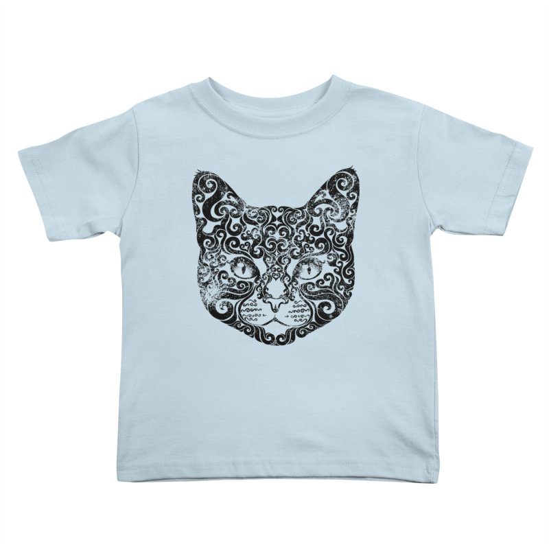 Swirly Cat Portrait 1 Kids Toddler T-Shirt by VectorInk's Artist Shop