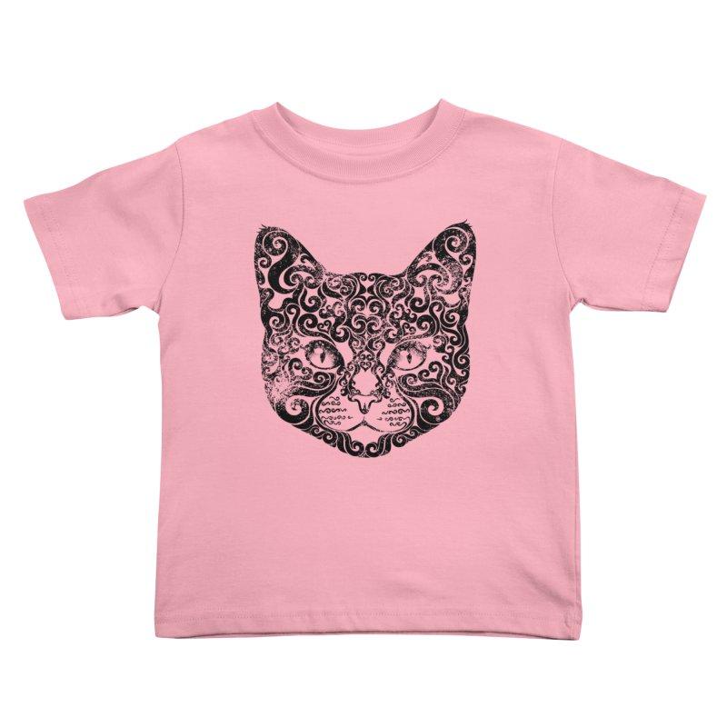 Swirly Cat Portrait 1 Kids Toddler T-Shirt by VectorInk's Artist Shop
