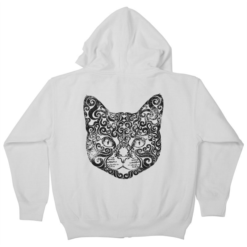 Swirly Cat Portrait 1 Kids Zip-Up Hoody by VectorInk's Artist Shop