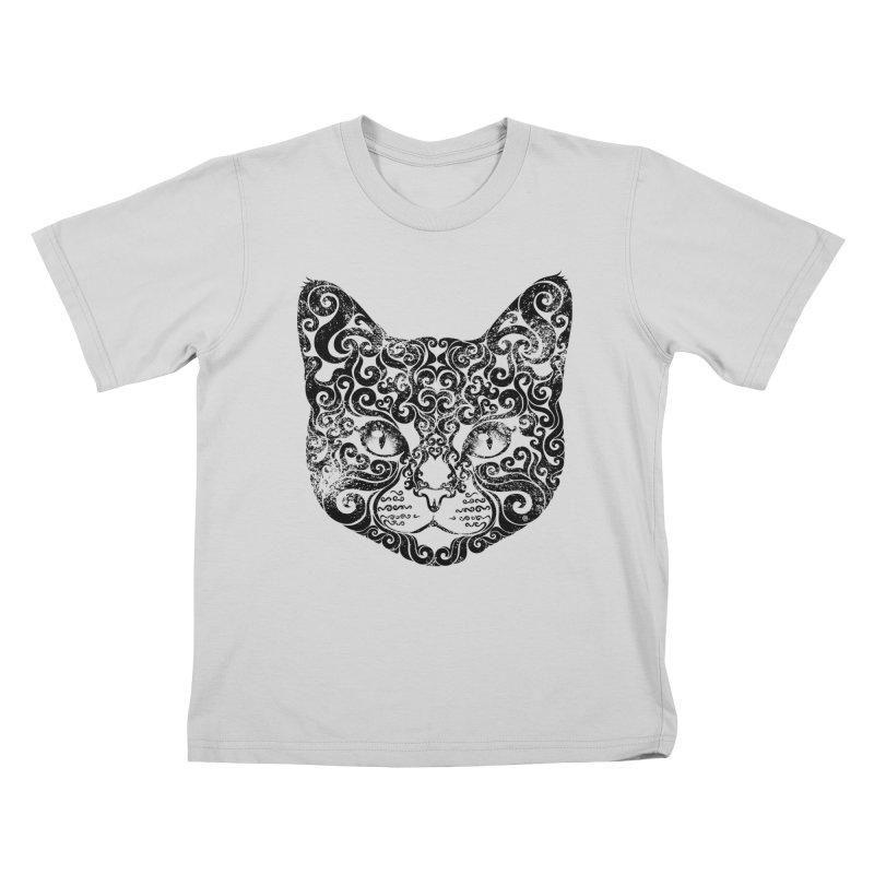 Swirly Cat Portrait 1 Kids T-Shirt by VectorInk's Artist Shop