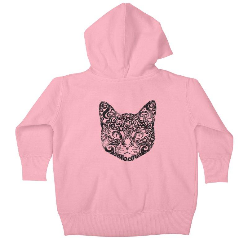 Swirly Cat Portrait 1 Kids Baby Zip-Up Hoody by VectorInk's Artist Shop