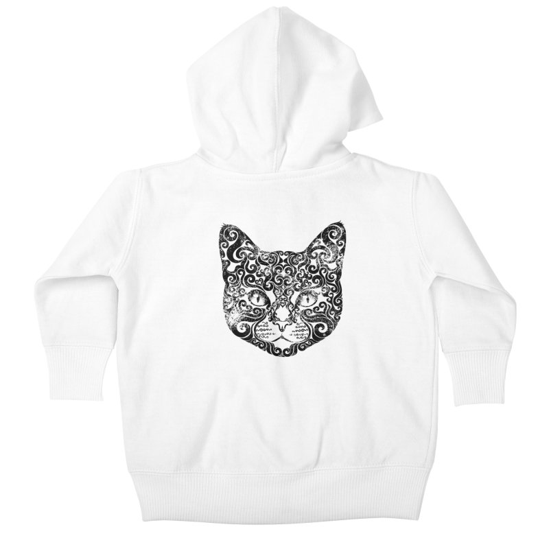Swirly Cat Portrait 1 Kids Baby Zip-Up Hoody by VectorInk's Artist Shop