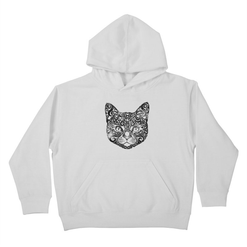 Swirly Cat Portrait 1 Kids Pullover Hoody by VectorInk's Artist Shop