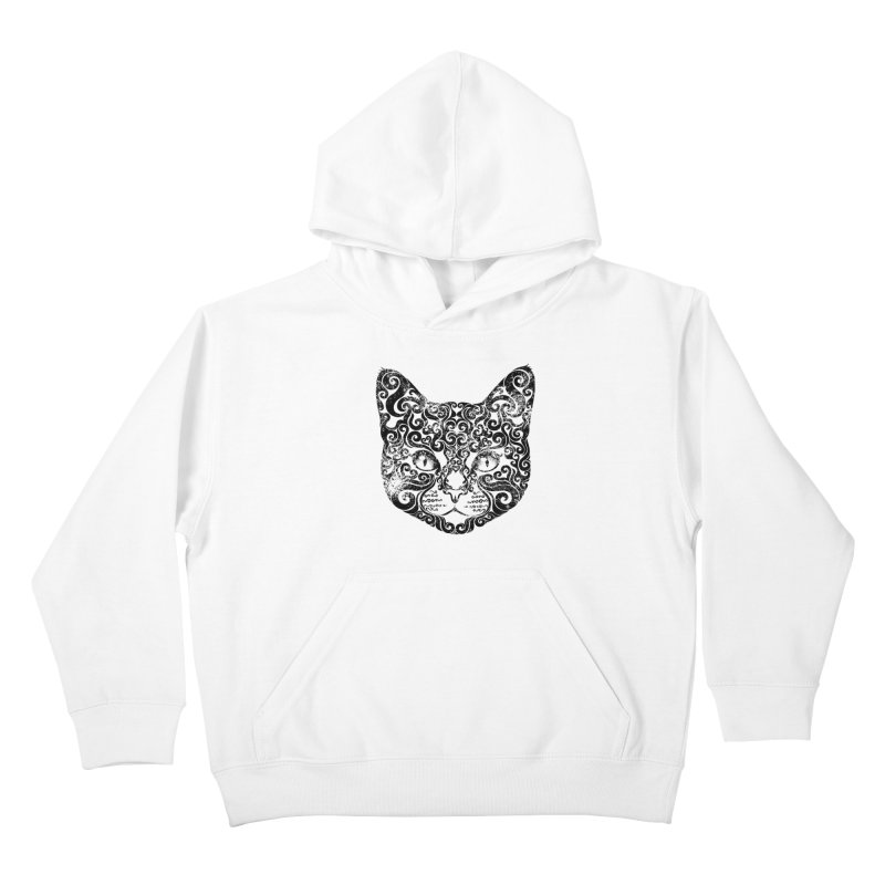 Swirly Cat Portrait 1 Kids Pullover Hoody by VectorInk's Artist Shop