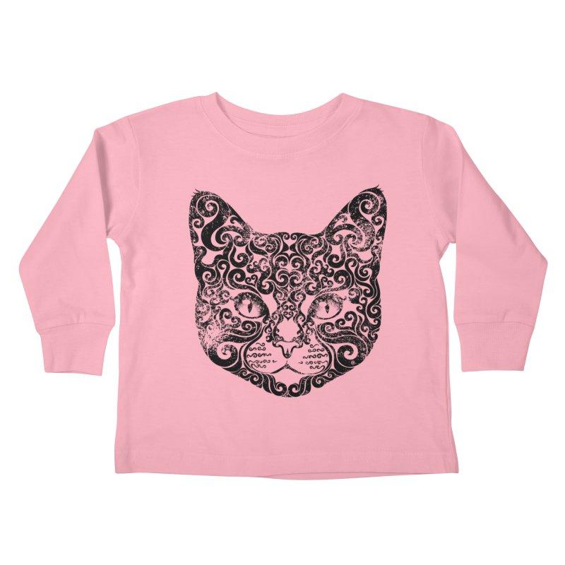 Swirly Cat Portrait 1 Kids Toddler Longsleeve T-Shirt by VectorInk's Artist Shop