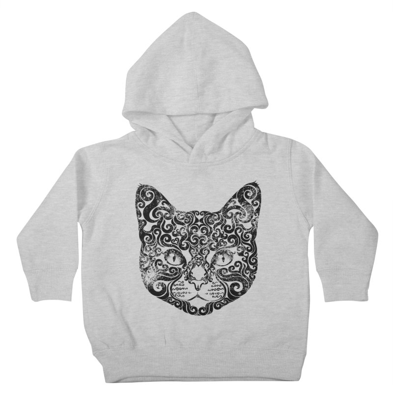 Swirly Cat Portrait 1 Kids Toddler Pullover Hoody by VectorInk's Artist Shop