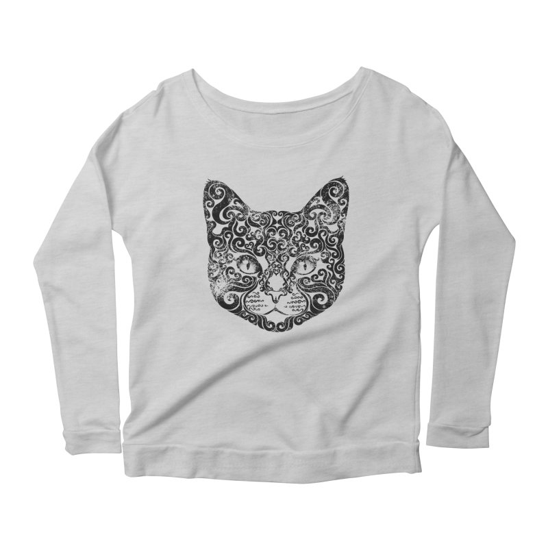 Swirly Cat Portrait 1 Women's Scoop Neck Longsleeve T-Shirt by VectorInk's Artist Shop
