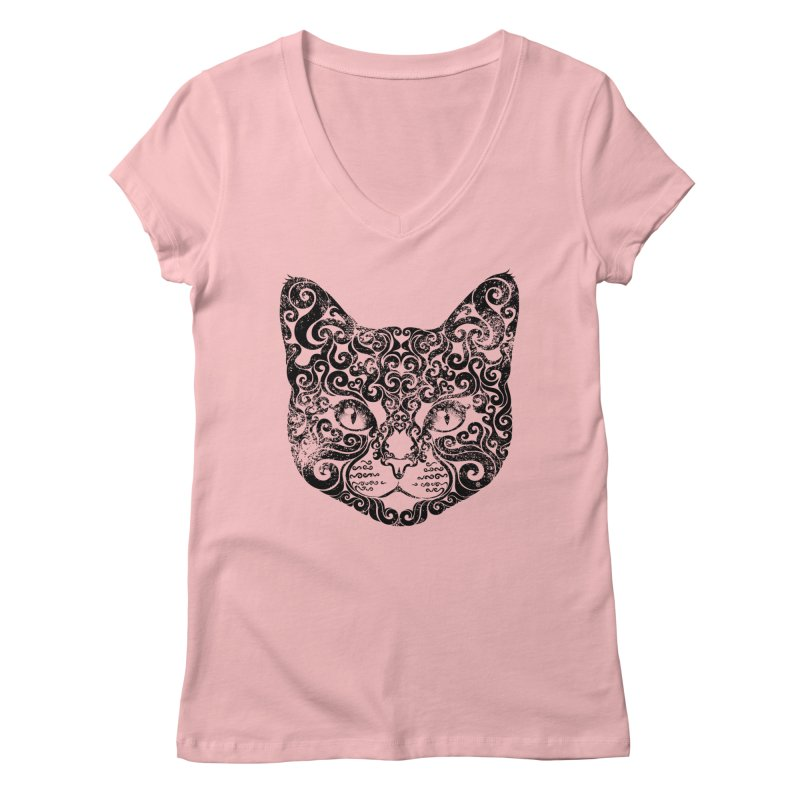 Swirly Cat Portrait 1 Women's V-Neck by VectorInk's Artist Shop