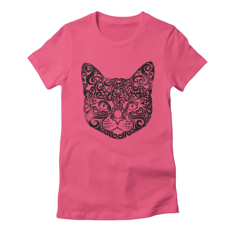 Swirly Cat Portrait 1 Women's Fitted T-Shirt by VectorInk's Artist Shop