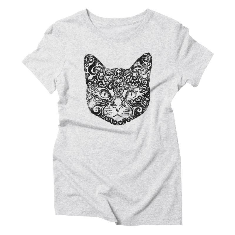 Swirly Cat Portrait 1 Women's Triblend T-shirt by VectorInk's Artist Shop