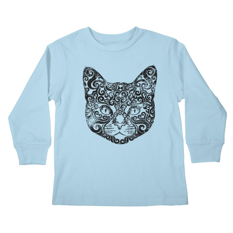 Swirly Cat Portrait 1 Kids Longsleeve T-Shirt by VectorInk's Artist Shop