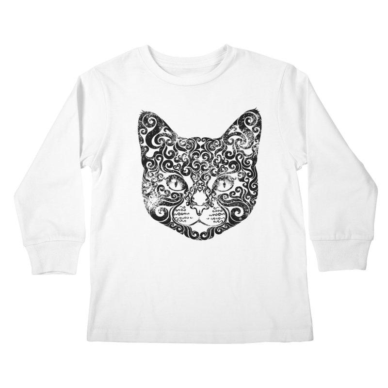 Swirly Cat Portrait 1 Kids Longsleeve T-Shirt by VectorInk's Artist Shop