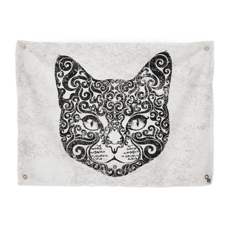 Swirly Cat Portrait 1 Home Tapestry by VectorInk's Artist Shop