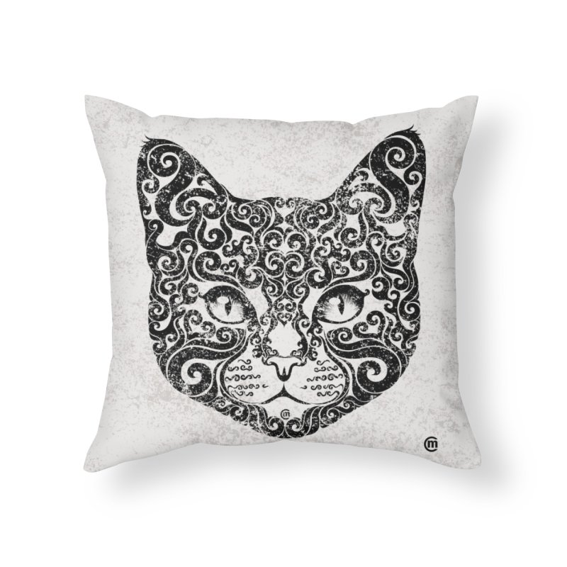 Swirly Cat Portrait 1 Home Throw Pillow by VectorInk's Artist Shop