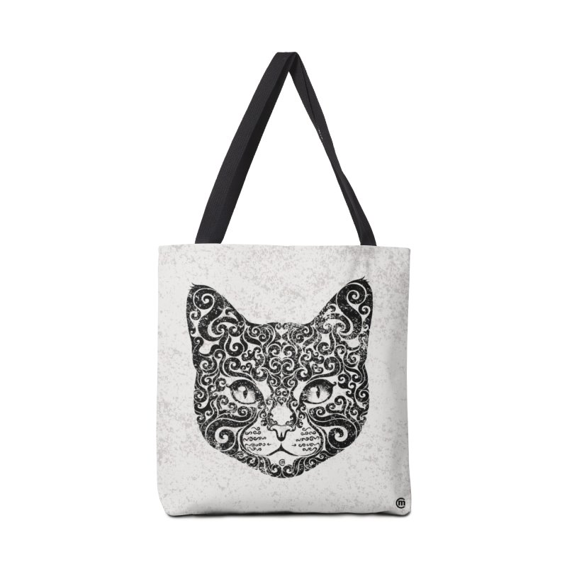 Swirly Cat Portrait 1 Accessories Bag by VectorInk's Artist Shop