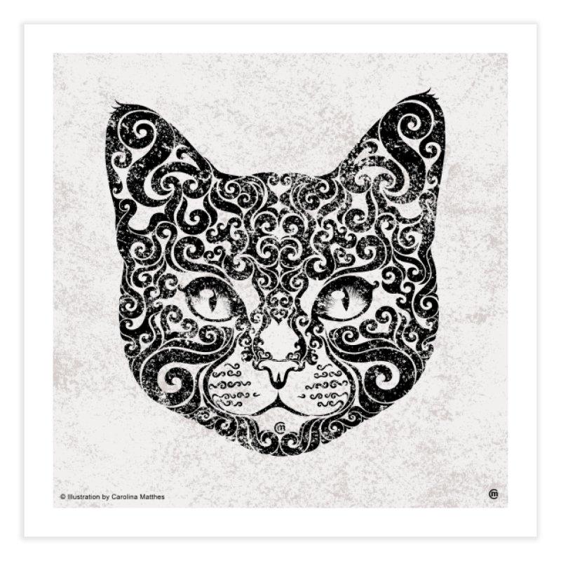 Swirly Cat Portrait 1 Home Fine Art Print by VectorInk's Artist Shop
