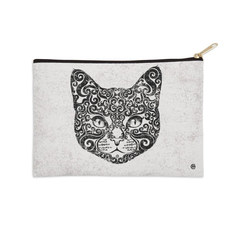 Swirly Cat Portrait 1 Accessories Zip Pouch by VectorInk's Artist Shop