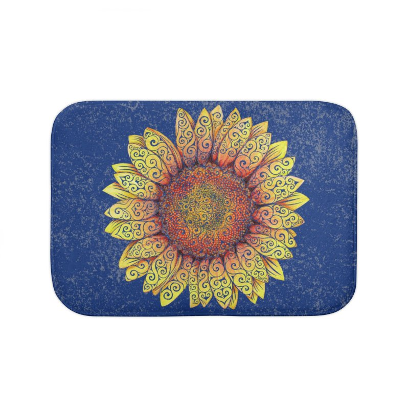 Swirly Sunflower Home Bath Mat by VectorInk's Artist Shop