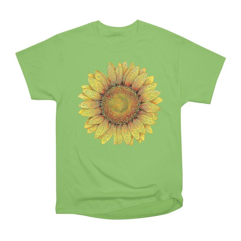 Swirly Sunflower Women's Heavyweight Unisex T-Shirt by VectorInk's Artist Shop